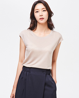 (3STT099) 심플 텐셀 캡 소매 티셔츠
